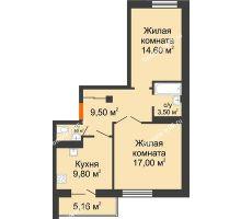 2 комнатная квартира 57,55 м² в ЖК Европа-сити, дом Литер 5 - планировка