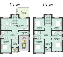 """5 комнатная квартира 240 м² в КП Ясная поляна, дом """"Венеция"""" 240 м² - планировка"""