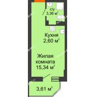 Студия 22,38 м² в ЖК Свобода, дом №2 - планировка