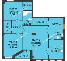 3 комнатная квартира 121,32 м² в ЖК Дом на Провиантской, дом № 12 - планировка