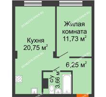 1 комнатная квартира 42,39 м² - ЖК Зеленый берег Life