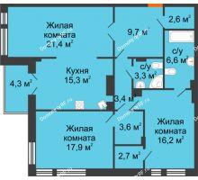 3 комнатная квартира 104,9 м² в Клубный дом Лобачевский, дом № 1 - планировка