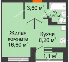 1 комнатная квартира 33,1 м² в ЖК Спортивный парк, дом Литер 6 - планировка