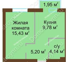 1 комнатная квартира 35,14 м² в ЖК Каменки, дом №14