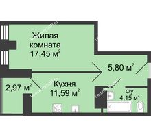1 комнатная квартира 40,48 м² в ЖК Сердце Ростова, дом Этап I