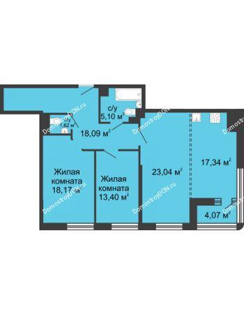 3 комнатная квартира 98,6 м² - ЖК Бристоль
