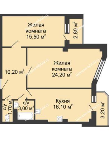 2 комнатная квартира 73,7 м² - ЖК Дом на Береговой