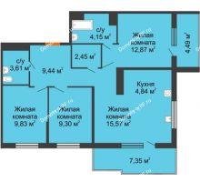 3 комнатная квартира 76,51 м² в ЖК Все свои, дом Литер 5 - планировка