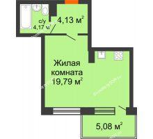 Студия 37,17 м² в ЖК Гвардейский 3.0, дом Секция 1 - планировка