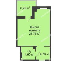 Студия 38,15 м² в ЖК Новый Город, дом № 3 - планировка