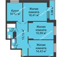 3 комнатная квартира 82,7 м², ЖД Весна - планировка