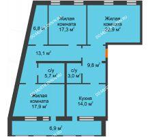 3 комнатная квартира 117,4 м², Жилой дом: ул. Варварская - планировка