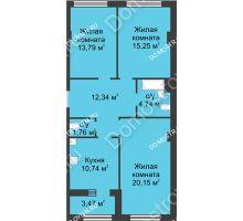 3 комнатная квартира 80,51 м² в ЖК Караваиха, дом № 5 - планировка
