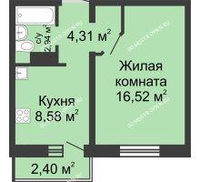 1 комнатная квартира 33,07 м² в ЖК Мончегория, дом № 3 - планировка