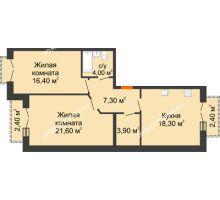 2 комнатная квартира 73,9 м², Жилой дом: г. Дзержинск, ул. Кирова, д.12 - планировка