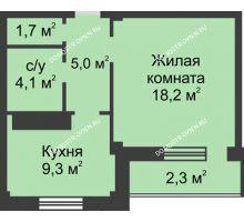 1 комнатная квартира 40,6 м² в ЖК На Победной, дом № 3
