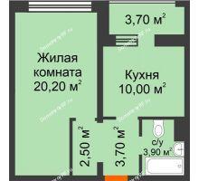 1 комнатная квартира 42,2 м², ЖК Приоритет - планировка