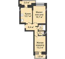 2 комнатная квартира 56,1 м² в ЖК Династия, дом Литер 1 - планировка