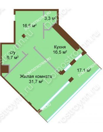 1 комнатная квартира 79,9 м² - ЖК Бояр Палас