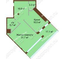 1 комнатная квартира 79,9 м², ЖК Бояр Палас - планировка