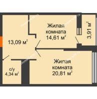 2 комнатная квартира 54,8 м² в ЖК Столичный, дом корпус А, блок-секция 1,2,3 - планировка