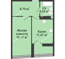 1 комнатная квартира 44,19 м², ЖК Адмирал - планировка