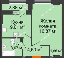 1 комнатная квартира 38,31 м² - ЖК Каскад на Куйбышева
