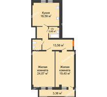 2 комнатная квартира 85,46 м² в ЖК Ярд, дом Блок 1 - планировка