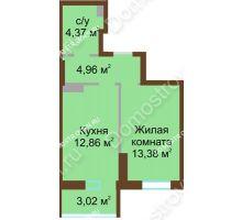 1 комнатная квартира 38,55 м² в ЖК Красная поляна, дом № 8