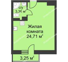 Студия 29,05 м² в ЖК Загородный мкрн Акварель  микрогород Стрижи, дом №7к2 - планировка